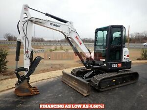 2019 Bobcat E55 Mini Excavator Cab Heat ac Thumb 2 Speed 102 Hours 49 8 Hp