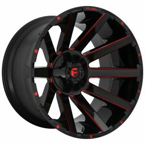 Four 4 20x9 Fuel Contra Et 20 Black Red 8x165 1 8x6 5 Wheels Rims