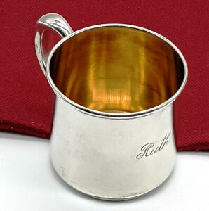 Antique R Wallace Sons Sterling Silver Baby Cup Gold Wash Interior Mono Ruth