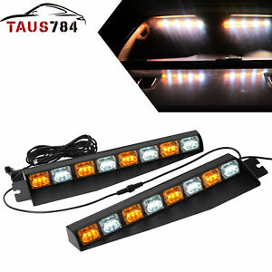 17 48w Amber White Emergency Strobe Visor Lights Bar Interior Upper Windshield