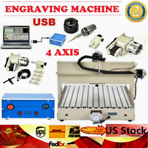 Usb 3040t 4 Axis Cnc Router Engraver Machine Diy 3d Cutter For Wood Pcb Cutting