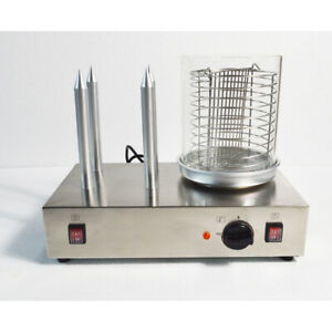Hot Dog Machine Bun Warmer Electric 110v Steamer With 4 Non stick Spikes New