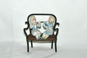 Rare Antique Bisque Figurine Miniature Children Couple Playing Ball Germany