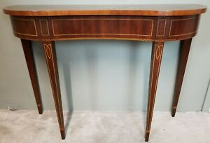 Italian Inlaid Marquetry Mahogany Demilune Federal Console Sofa Entry Table