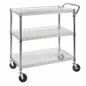 Industrial Utility Cart Wire Metal Rolling Office Kitchen Storage Food 3 Shelves