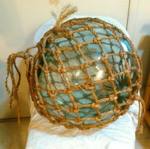 Vintage Very Large Japanese Netted Clear Blue Green Glass Fishing Float 50