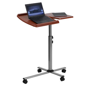 Angle Height Adjustable Mobile Laptop Computer Cart With Cherry Wood Top