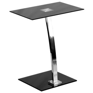 Laptop Computer Desk Lectern With Black Tempered Glass Top Chrome Base Finish