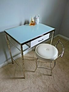 Vintage Chrome Childs Vanity Hollywood Regency Faux Bamboo Metal Table Chair