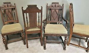 4 Antique C 1920 S Jacobean Gothic Revival Hand Carved Feudal Oak Dining Chairs