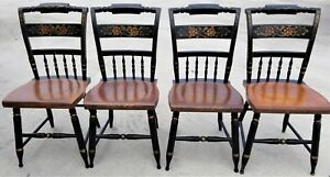 Set Of 4 Vintage L Hitchcock Windsor Side Chairs Floral Stenciled 6 Available