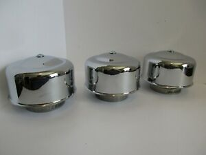 Chrome 4 1 4 Smooth Dome Air Cleaners 3 Tri Power 1 2 Bbl Hot Rod 7148 3