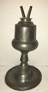 Beautiful Capen Molineaux New York City Pewter Whale Oil Lamp 1848 1854