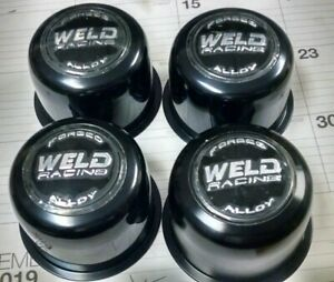 4 Nos Black Weld Racing Forged Alloy Push Thru Wheel Center Hub Caps
