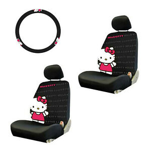 5pc Hello Kitty Core Steering Wheel Cover Seat Covers