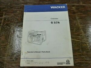 Wacker G3 7a Generator Parts Catalog Owner Operator Maintenance Manual