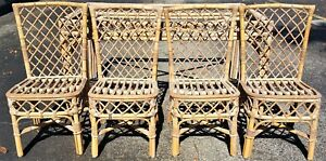 Set Of 4 Vtg Unfinished Mid Century Modern Bamboo Rattan Bentwood Chairs Only