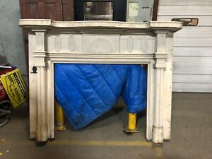 Stunning Rare C1820 Hand Carved Fancy Fireplace Mantle 79 X 60 Firebox 49x40