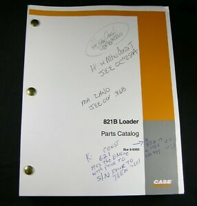 Case 821b Wheel Loader Tractor Parts Manual Catalog Book List 8 9392 Oem