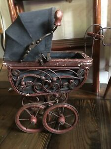 Vintage Wicker Wood Metal Victorian Baby Doll Buggy Carriage Stroller 19 Tall