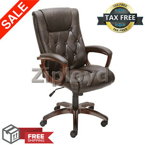 Office Rolling Computer Chair High Back Executive Desk Bonded Leather Brown New