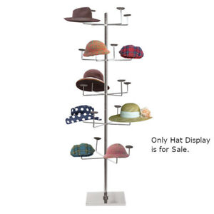 Floor Standing Hat Display Rack In Chrome Finish 24 5 D X 66 H Inches