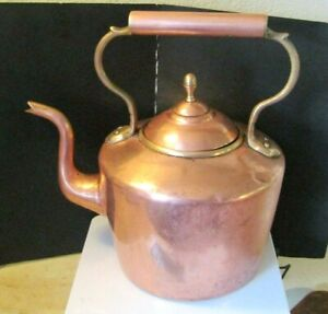 1888 Sternaut Co N Y Large Copper Tea Kettle Dovetailed Hand Made Rare