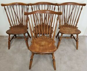 Vtg Set Of 4 Ethan Allen Duxbury Baumritter Windsor Fiddleback Chairs 7 Avail