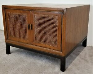 1 Mcm Henredon Folio 8 Cane Door End Side Table Nightstand
