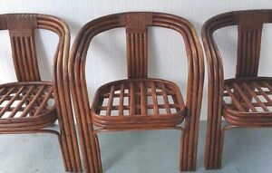 3 Vintage Mid Century Modern Bamboo Rattan Bent Wood Arm Chairs Wooden Pegged