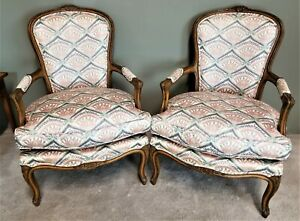 Pair Of Vintage French Provincial Louis Xv Hand Carved Wood Fauteuil Armchairs