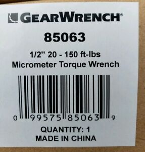 Gearwrench 1 2 Drive Micrometer Torque Wrench 20 150 Ft lbs 85063