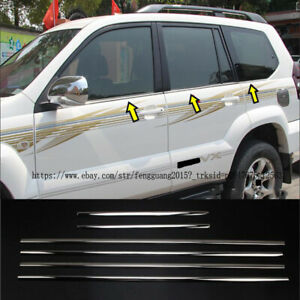 For Toyota Prado Fj120 2003 2009 6pcs set Stainless Window Trim Bottom Sill