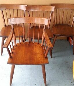Set Of 5 Antique Vintage Maple Cushman Style Windsor Back Dining Chairs