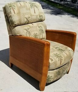 Best Chair Inc Tropical Mcm Wicker Recliner Full Body Mid Century Modern