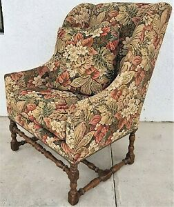 Dennis Leen Of Los Angeles Louis Xiii Fireside Wing Chair W Throw Pillow