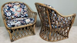 Set Of 2 Vintage Bentwood Rattan Barrel Back Floral Armchairs With Throw Pillows