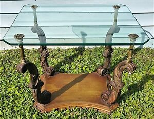 Vtg Weiman Heirloom Quality Side End Table Hand Carved Wood Glass Brass