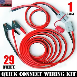 Professional 1 Gauge 29 Ft Quick Disconnect Jumper booster Cable Set Tow serv