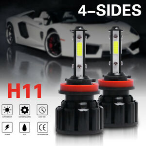 4 side H11 Led Headlight Bulbs H8 H9 Kits 120w 32000lm Power 6000k White Black