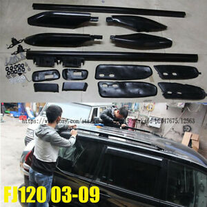 For Toyota Prado Fj120 2003 2009 Roof Rails Rack Luggage Carrier Bars Black 1set
