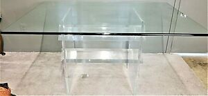 2 Pc Vintage Mcm Lucite Acrylic Dining Table With Beveled Rounded Edge Glass Top