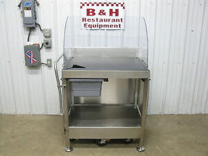 M e Mfg Mobile Stainless Steel Work Cutting Board Prep 35 X 27 Poly Top Table