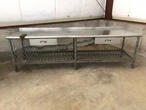 Antique Industrial Vintage 9 1 2 Ft Commercial Kitchen Prep Table W Backsplash