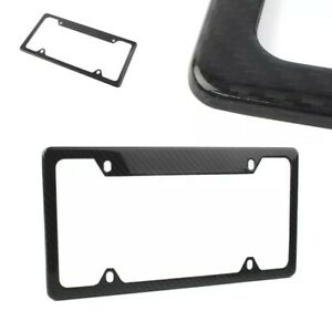 Real Carbon Fiber Auto License Plate Frame Us canada Size Cover Tag Screw