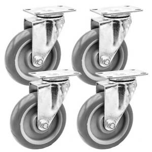 Lot Of 4 5 Caster Wheels Swivel Plate Casters On Grey Pu Wheels No Brake