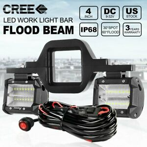 Tow Hitch Backup Bracket 4inch Led Work Light Bar Driving Reverse For Truck Car