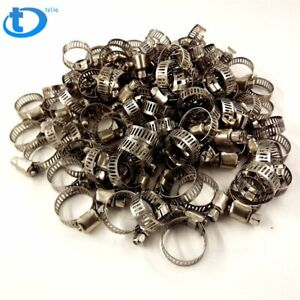 100pcs 1 2 3 4 Adjustable Stainless Steel Drive Hose Clamps Fuel Line Worm Us