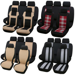 Premium Universal Air Mesh Fabric Front Rear Car Low Back Seat Bench Cover Set