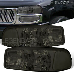 For 2000 2001 2002 2003 2004 2005 2006 Gmc Yukon Smoke Headlight Clear Reflector